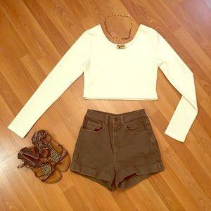 ✨American Apparel olive green high waist shorts